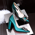 New Pumps Women High Heels Shoes Thick Heel Office Shoes Shallow Single Buckle Rhinestone Pointed OL High Heeled Shoes G3173-2