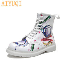 2019 new Women Boots Ankle Genuine Leather Martin Boots Female England Women Boots Ladies Shoes Printing(China)