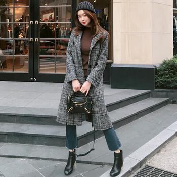 2019 Spring Autumn Women's Wool  Plaid Coat New Fashion Long Woolen Coat Slim Type Female Winter Wool Jackets Female Outw 3