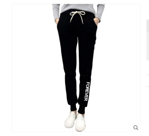 Winter Exo harajuku women Thicken fleece Letter print sports Harem pants loose casual sweatpant Jogging wear Elastic waist