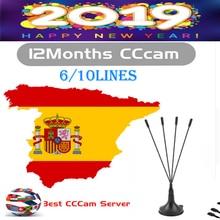 HD DVB-S2 6 lines CCcams Clines for 1 Year Europe support Satellite TV Receiver GTmedia V8 Nova Freesat V7 Ccam Italy