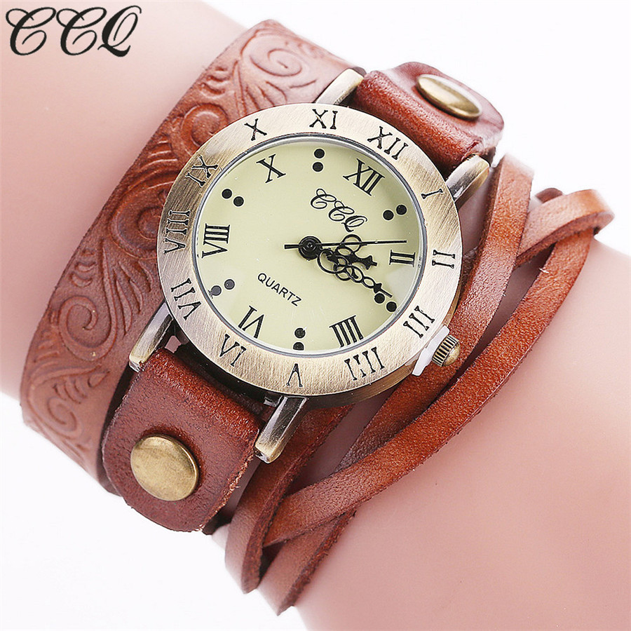 CCQ Brand Fashion Vintage Cow Leather Bracelet Watch Casual Women Wrist Watch Luxury Quartz Watch Relogio Feminino Gift C113 ccq luxury brand vintage leather bracelet watch women ladies dress wristwatch casual quartz watch relogio feminino gift 1821