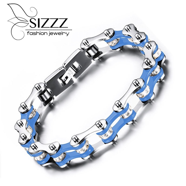 Fashion Stainless Steel Bike Bracelet Men Biker Bicycle Motorcycle Chain Bracelets Bangles Jewelry