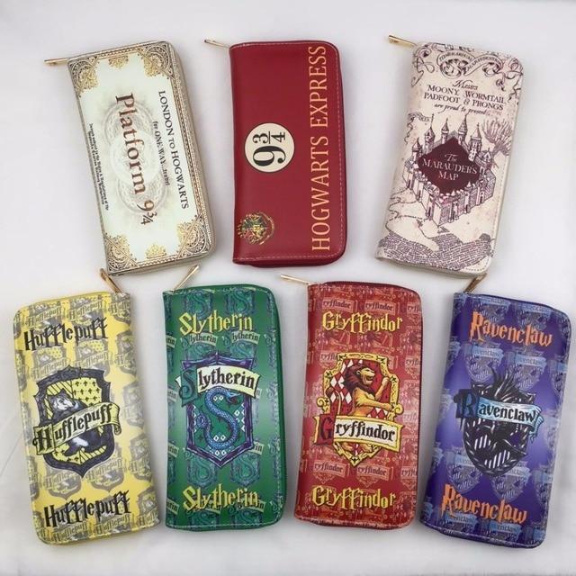 Anime Harry Potter cremallera de estilo largo Cartera de arte monedero Hogwarts Marauders mapa mujeres PU Cartera de cuero