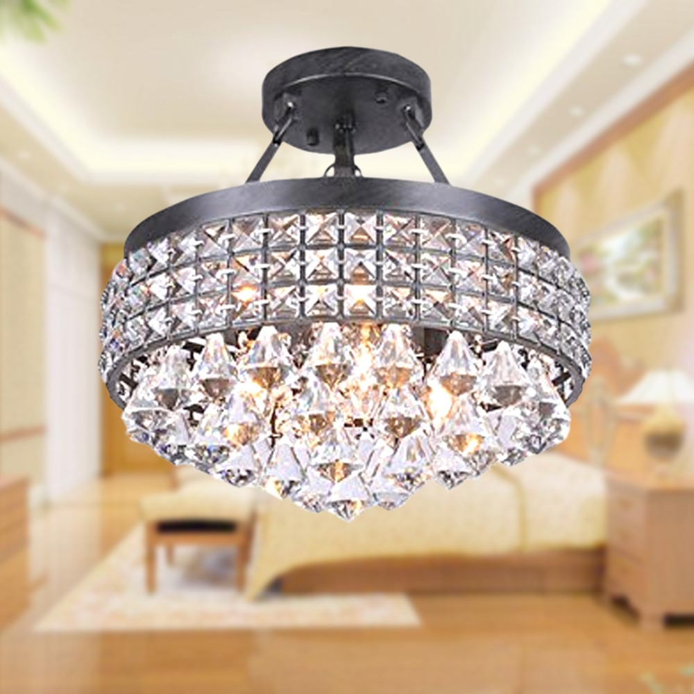 Vintage French Royal Ceiling Crystal Light Iron black Body ...
