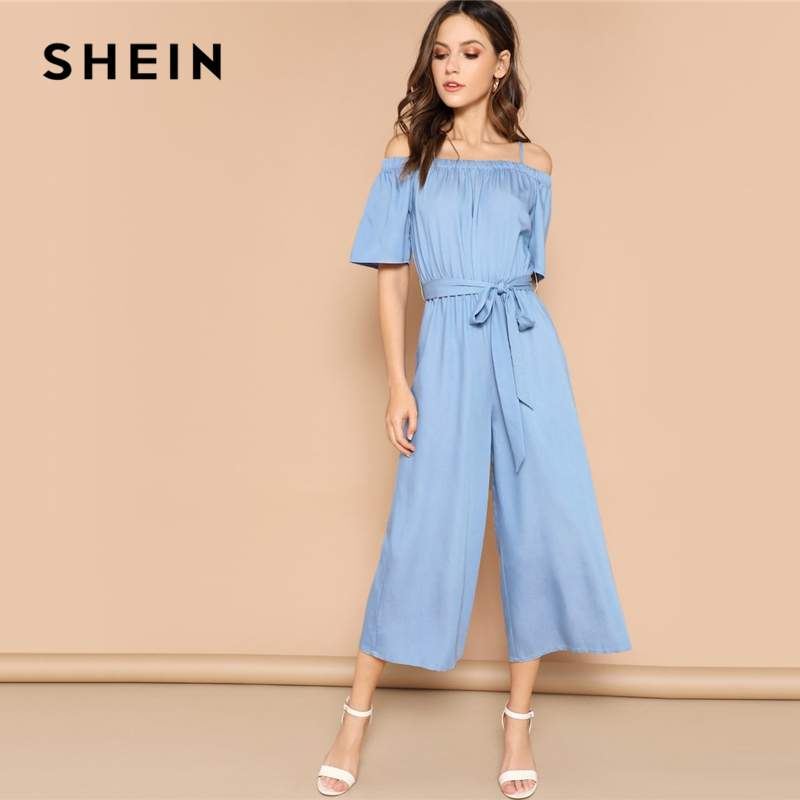 SHEIN Blue Cold Shoulder Wide Leg Strappy Jumpsuit 2019 Women Mid Waist Long Trouser Highstreet Spring Short Sleeve Jumpsuits 1