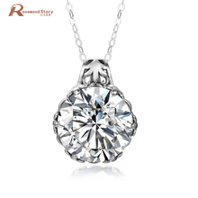 Фотография Classic Austria Crystal Zircon Long Charm Pendant Necklace Soild 925 Sterling Silver Solitaire Pendants For Women Wedding Party