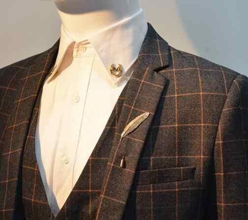 /_ elegante hoja de pluma Broche Pin Nuevo Hombres Cuello Traje De Palo Corbata Solapa P Por ejemplo