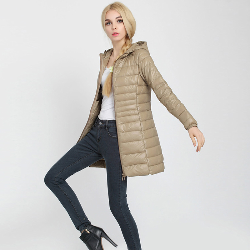 Plus Size Hooded White Duck   Down   Jackets Solid Color Zippers Slim Fashion   Down     Coats   Spring Autumn Ultra Light   Down     Coats   YP0860
