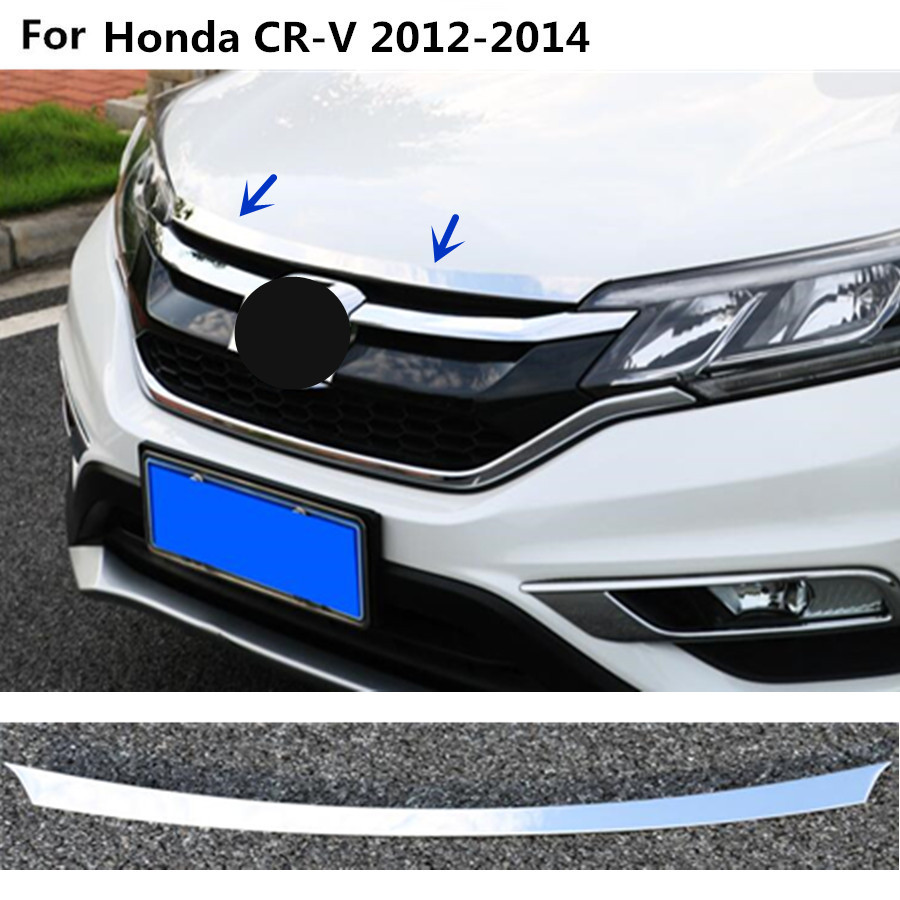 Car cover Bumper engine ABS Chrome trim Front Grid Grill Grille frame edge 1pcs For Honda CRV CR-V 2012 2013 2014 for toyota corolla altis 2014 2015 2016 car body styling cover detector abs chrome trim front up grid grill grille hoods 1pcs