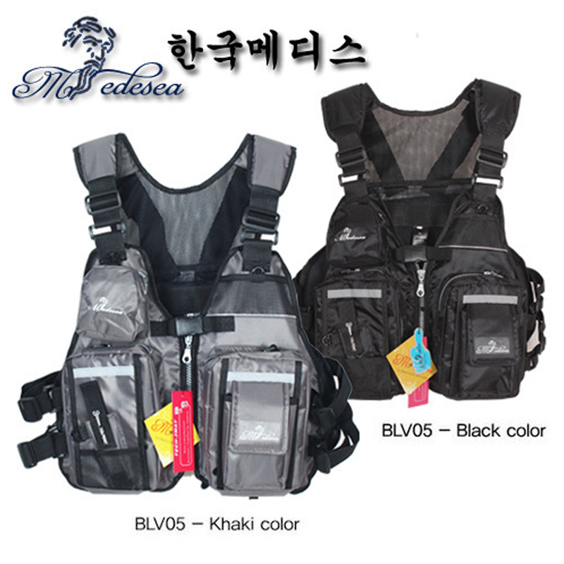 Black Khaki Adjustale Fishing Suit Life Jacket Sea Fishing Road Vest Fishing Floating Clothing Accessrioes Fishing