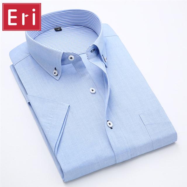 2017 Homens Verão Camisa de Manga Curta Camisas de Vestido Cor Da Moda Doces Projeto Social de Algodão Oxford Camisa Magro de Negócios Formal X012