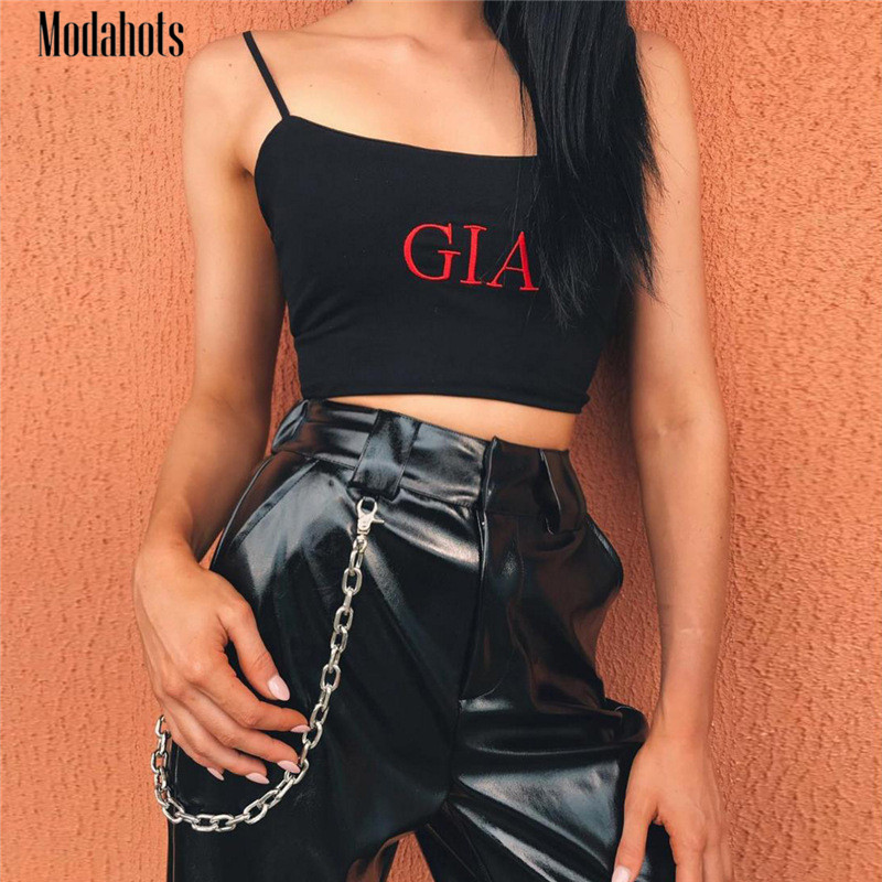 2018 New Women Sexy Embroidery GIA Letter Cami Crop Top Sleeveless Smil Vest Spaghetti Strap Tank Womens Black Haut Clothes