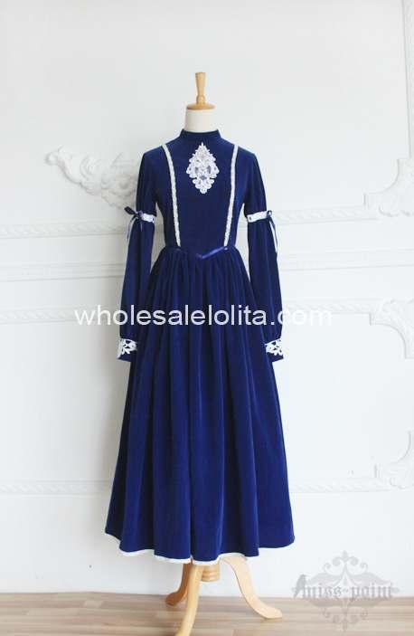 Высококачественное винтажное платье в стиле королевского двора, современное платье в викторианском стиле - Цвет: Синий
