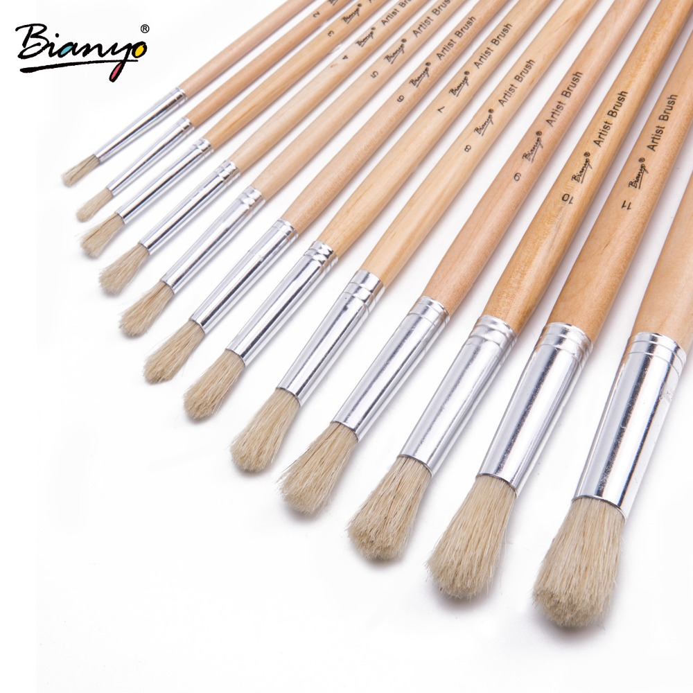 Bianyo 12Pcs Round Bristle Hair Wood Handle Advanced Acrylic Paint Brush Oil  Painting  Brushes Gouache Brushes Set Art Supplies