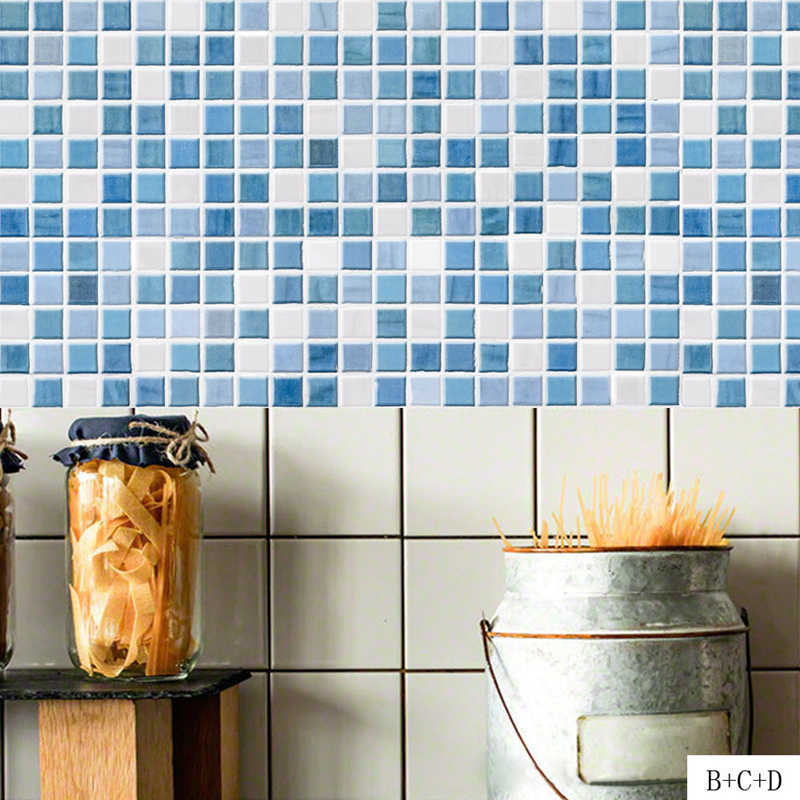 Pvc Wall Sticker Bathroom Waterproof Self Adhesive Wallpaper Kitchen Mosaic Tile Stickers For Walls Decal Home Decoration Blue Wallpapers Aliexpress