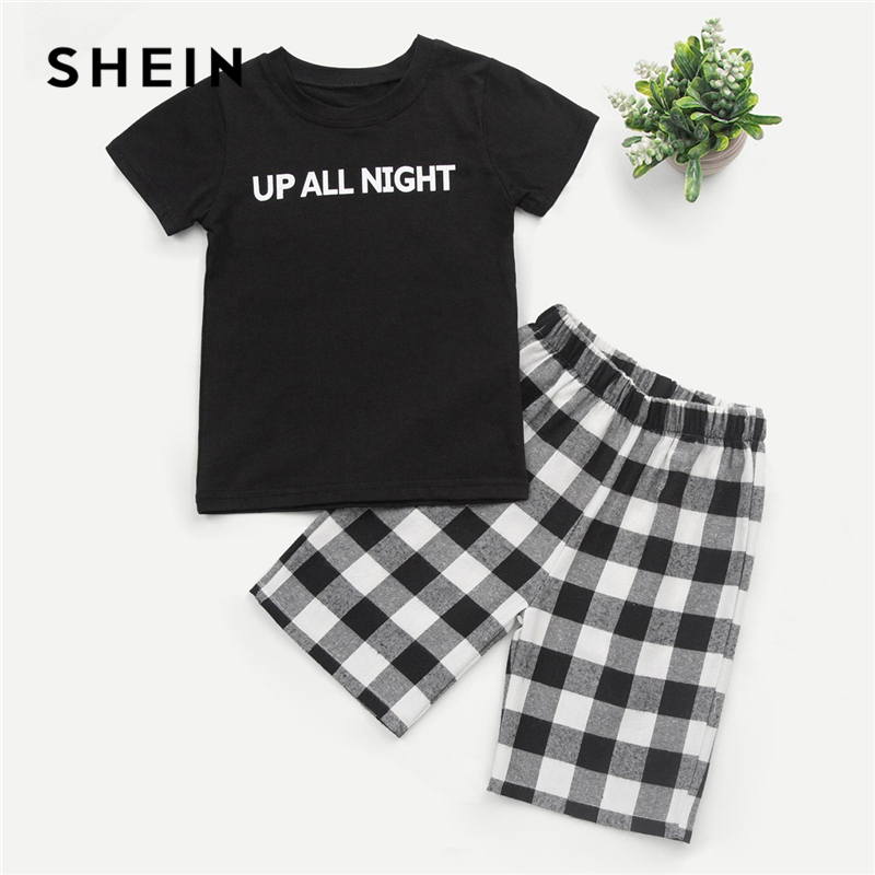 SHEIN Kiddie Boys Letter Print Tee With Plaid Buffalo Check Shorts Kids Suit Sets 2019 Summer Short Sleeve Casual Child Outfits plaid insert side zip hooded tee