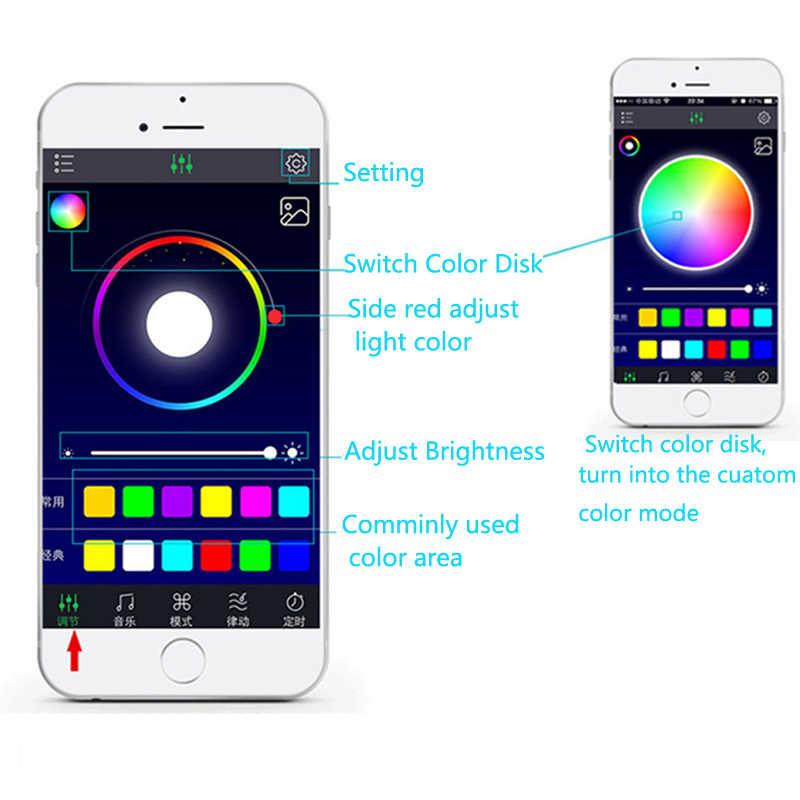 YCCPAUTO 12LED Bluetooth APP Car Atmosphere Lamp Multicolor Interior Decorative Foot Lights Auto RGB LED Strip Lights 12V