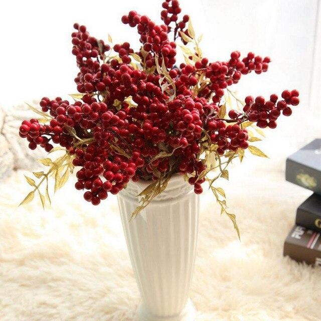 Aliexpress.com : Buy 1 Branch Artificial Christmas Berry Fake ...