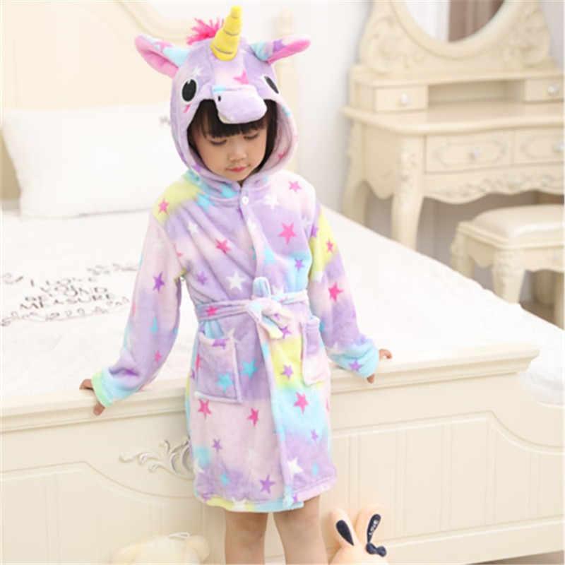 8656a5cdc3 ... Children Towel Beach Baby Bath Robe Animal Rainbow Unicorn Hooded  Bathrobes For Boys Girls Pyjamas Nightgown ...