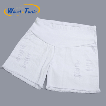 2020 Hot Sale Maternity Summer Short Pants Belly Care Shorts  Ripped And Pocket Decorated