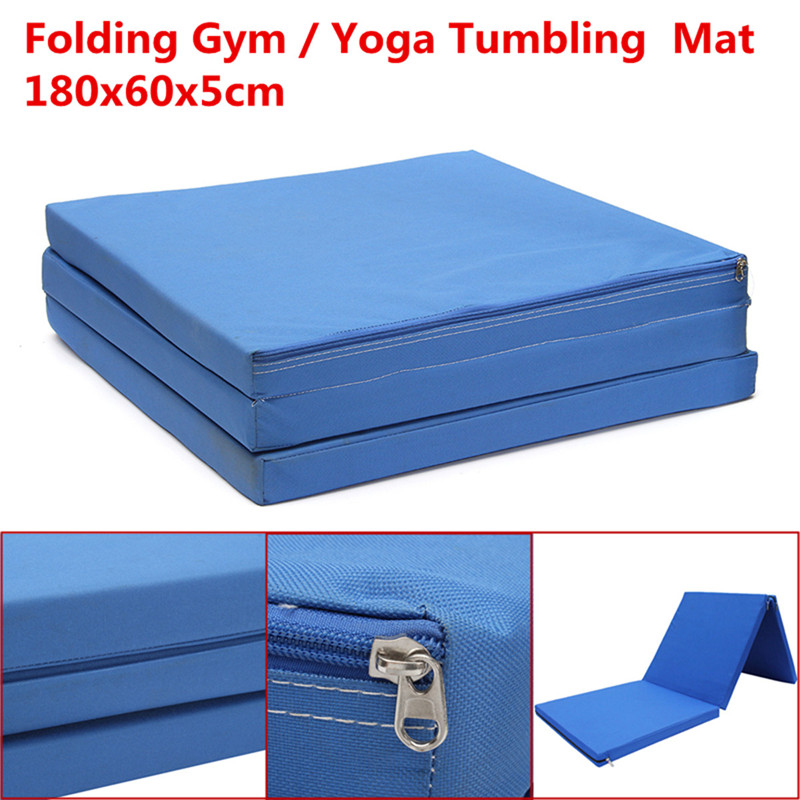Durable 180x60x5cm Multifunctional Oxford Blue Folding Gym Mat Gymnastics Aerobics Exercise Sports Yoga Pilates Tumbling Mats gymnastics mat thick four folding panel fitness exercise 2 4mx1 2mx3cm