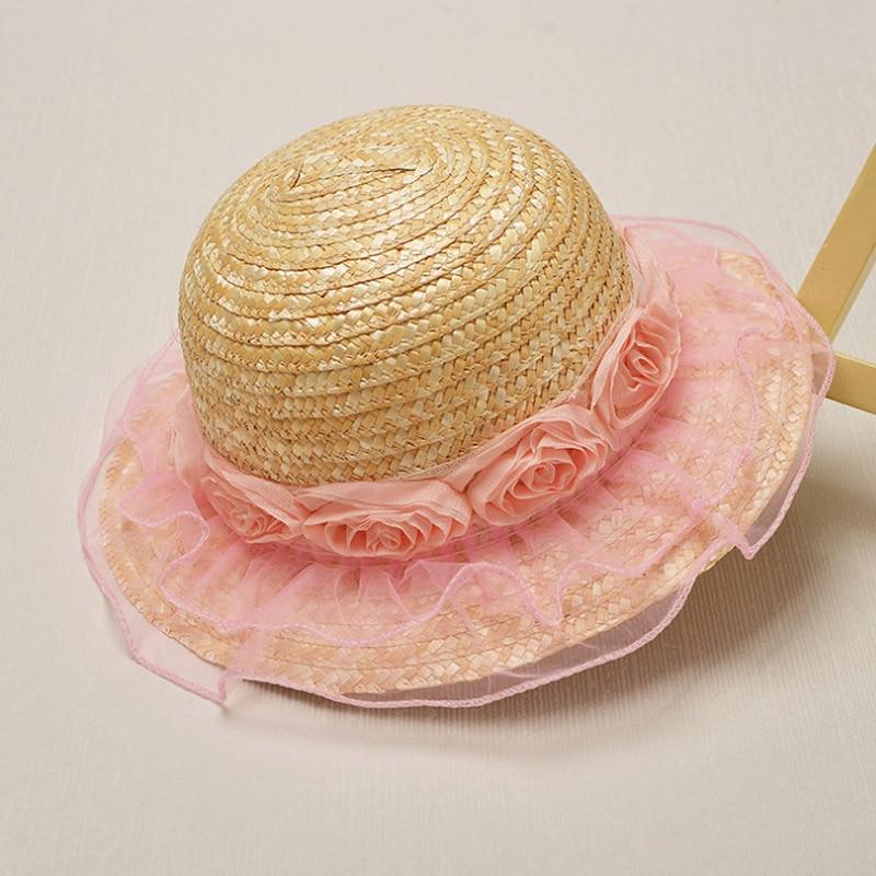 2018 Retail Pink Flower Summer Children Simple Wavy large brimmed straw hat boys girls Beach Hats Beach sun hat Drop Shipping