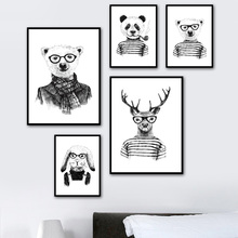 7-Space Minimalist Wall Art Print Poster Black White Animals Canvas Painting Kids Room Decoration Nordic Pictures No Frame