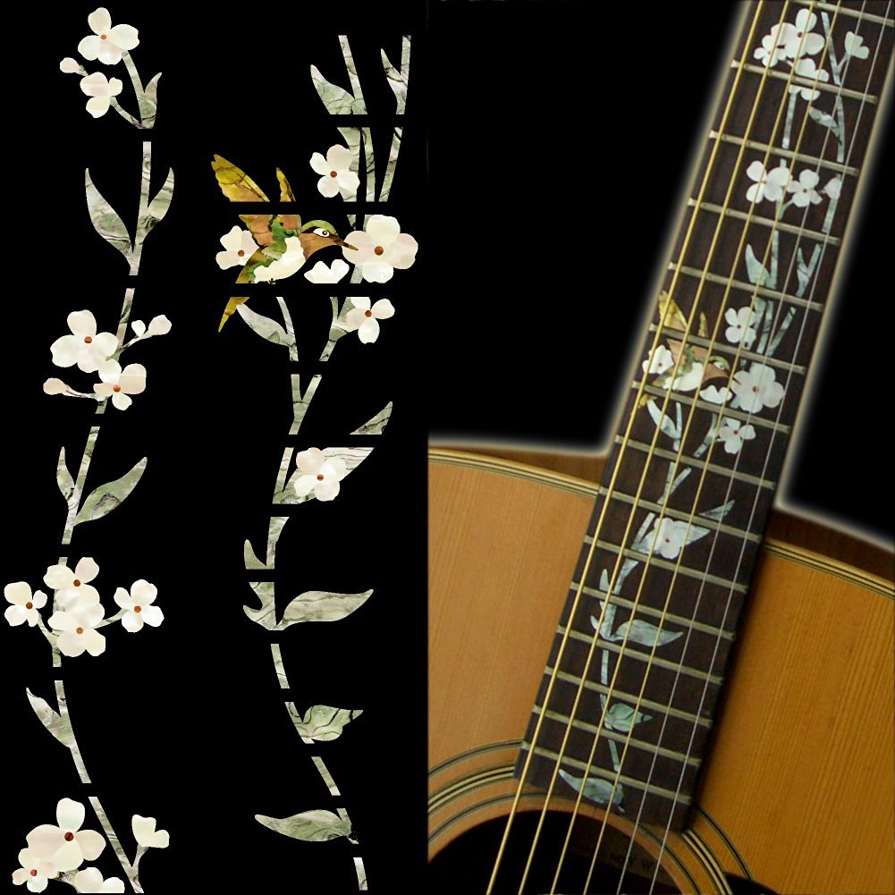 Fretboard Markers Inlay Sticker Decals for Guitar - Tree Of Life with Hummingbird guitar or bass tree of life fretboard silver color inlay ultra thin sticker