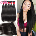 Lace Frontal Closure With Bundles Malaysian Straight Virgin Hair With Closure Straight Hair Ear To Ear Lace Frontal With Bundles