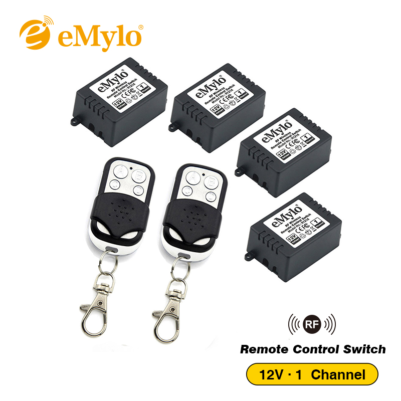 eMylo 12V RF Wireless Switch, Remote Control Light Switch 433Mhz 4x1-Ch Relays Receiver With 2X Transmitter Momentary Toggle emylo 4x 220v 1000w 1channel 433mhz wireless rf realy remote control switch receiver with transmitter