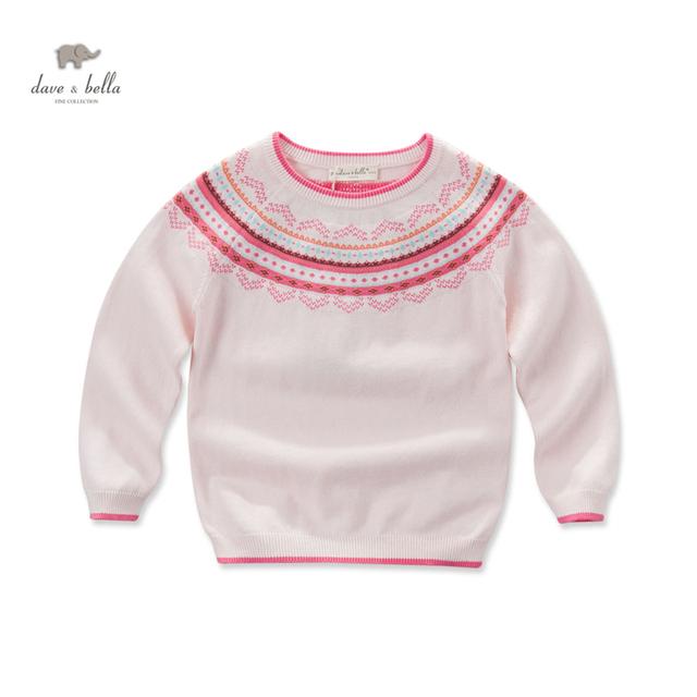 DK0428 dave bella otoño niña jacquard rosa raya suéter niñas suéter del estilo nacional de ética