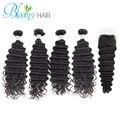 4 Bundles Deep Wave With Silk Base Closure Brazilian Virgin Hair Unprocessed Human Hair Free Shipping