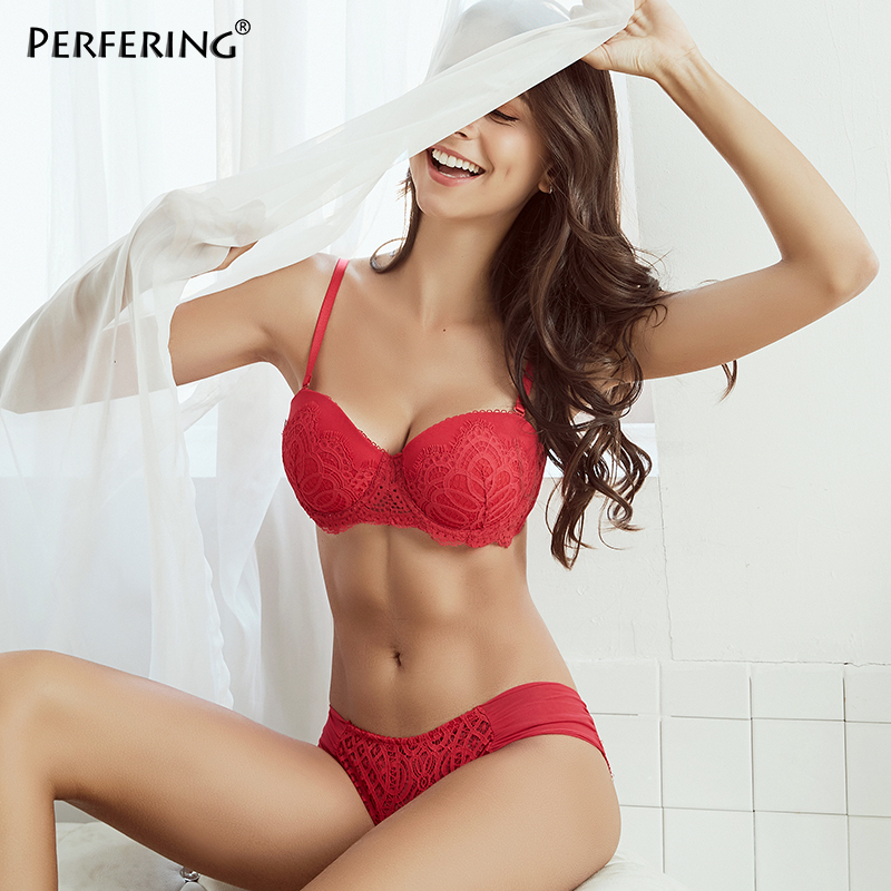 Perfering Best-Selling   Bras   Push Up   Bra     Sets   Women's Everyday Basic Comfort Lightly Padded Plunge Underwear and Panty Underwire