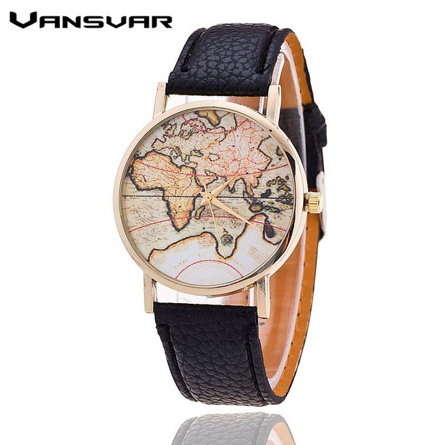 Vansvar Brand Fashion World Map Watch Women Casual Leather Strap Quartz Watches