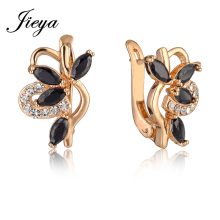 Luxury Trendy Flower Female Hanging Earrings Gold 585 Plated With Black Cubic Zirconia 2017 Girls Jewelry Party Black Earrings