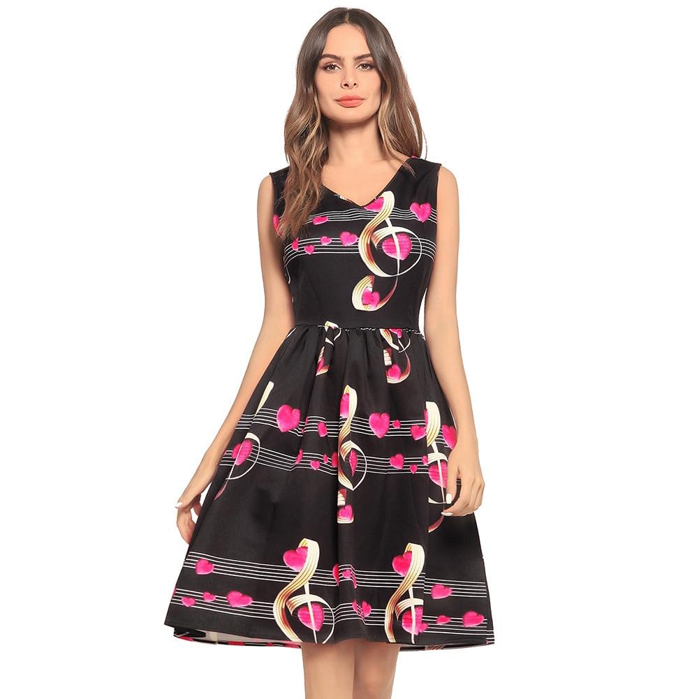 Новый 2018 популярные платье с принтом для девочек качество v-образным вырезом Танк платье без рукавов