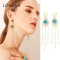 11.5cm long 925 silver High quality spiral bohemian geometry blue crystal tassel earrings women's fine jewelry lovers best gift
