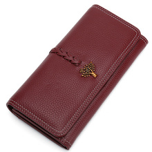 Long Wallet Women Genuine Leather Womens Wallets and Purses Fashion Solid Zipper Hasp Clutch Wallets Card Holder Dropshipping цена и фото