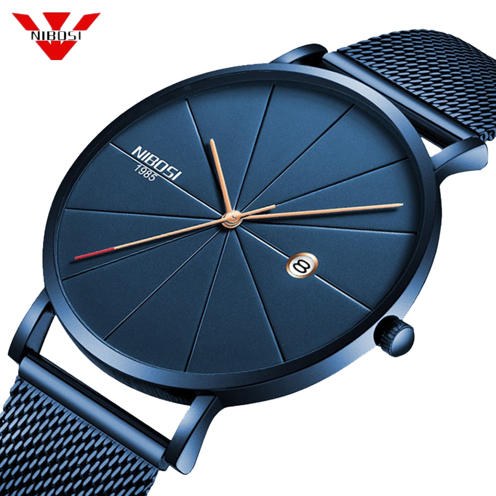 NIBOSI Ultra Thin Fashion Men Watch Top Luxury Brand Business Quartz Watches Waterproof Sports Watch Men Clock Relogio Masculino nibosi men s watches new luxury brand watch men fashion sports quartz watch stainless steel mesh strap ultra thin dial men clock