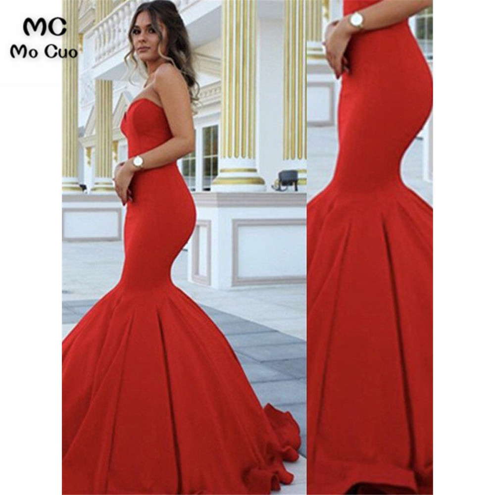 Simple In Stock Mermaid Evening Dresses Long Sweetheart Elastic Satin vestidos de fiest Bridesmaid Dress Evening Prom Dresses