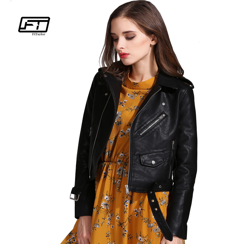 Fitaylor Women Faux   Leather   Jackets Lady PU Bomber Motorcycle Outerwear Slim Short Punk Coat with Belt