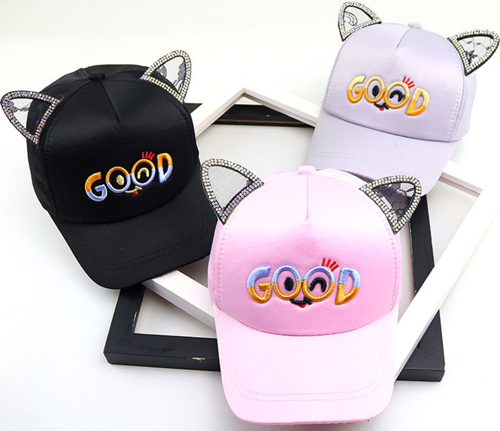 2019 Baby Boy And Girl Hat Letters Good Baseball Caps Children Spring And Summer New Beanies Cartoon Cat Sun Hat Kids Snapback