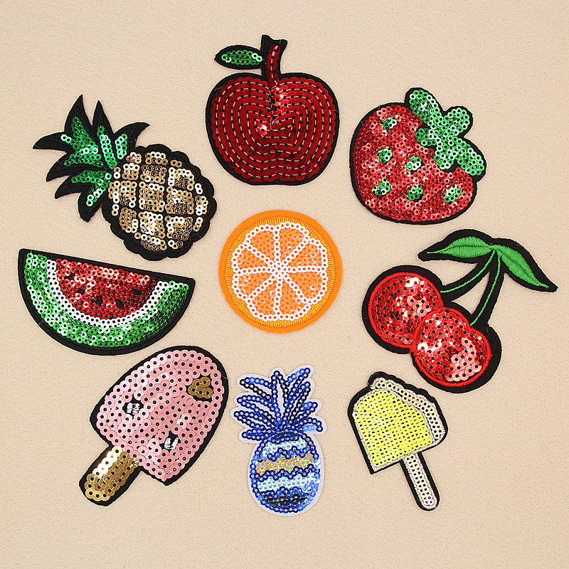 DoreenBeads Various Fruits Sequined Patch T Shirt Press Sticker Sew On Transfers Patches for Girls Dress Hoodie Coat Pants Shoes