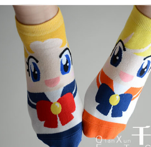 10pairs/lot free shipping korean style cartoon short cotton socks Sailor Moon socks ankle Socks