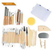 45pcs/Set Wooden Ceramic Clay Sculpting Pottery Art Tools Kit with Plastic Case E2S