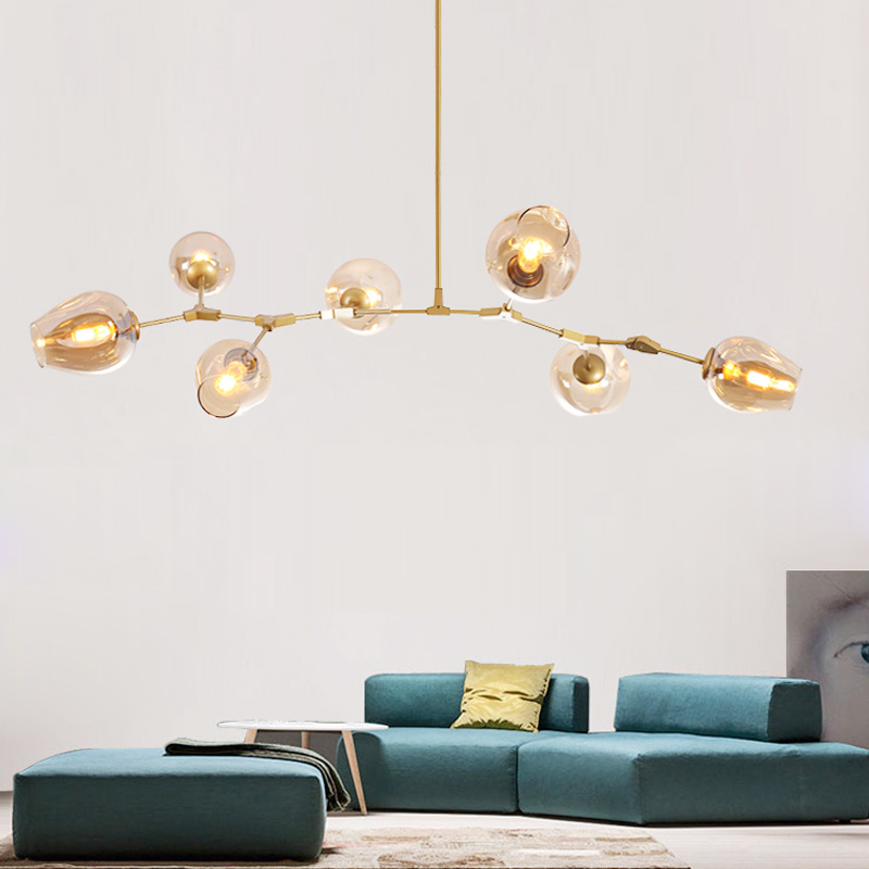 Designer Lustres Globo luzes para sala de estar Preto/Ouro Lustres lâmpada Do Corpo com opções de cor de vidro Da Cozinha Iluminação