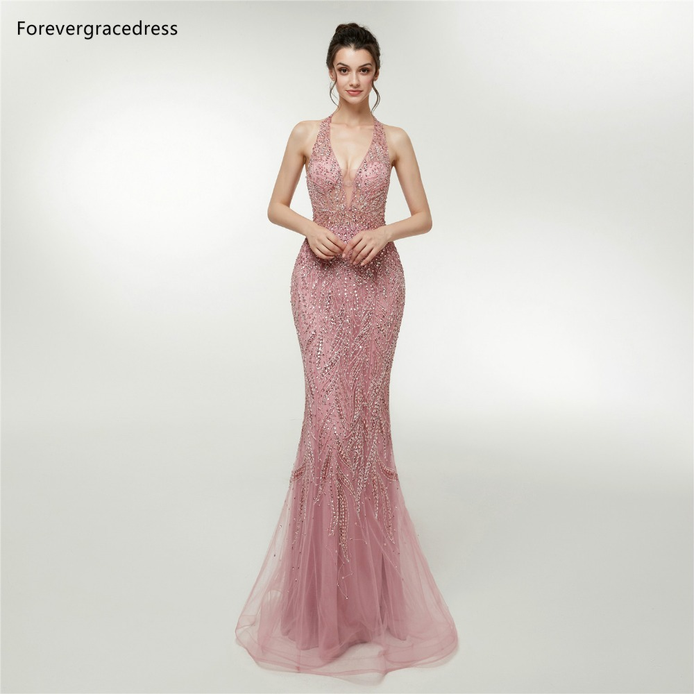 US $194.5 50% OFF Forevergracedress Mermaid Halter Prom Dresses 2019  Beading Sleeveless Backless Formal Party Gowns Plus Size Custom Made-in  Prom ...