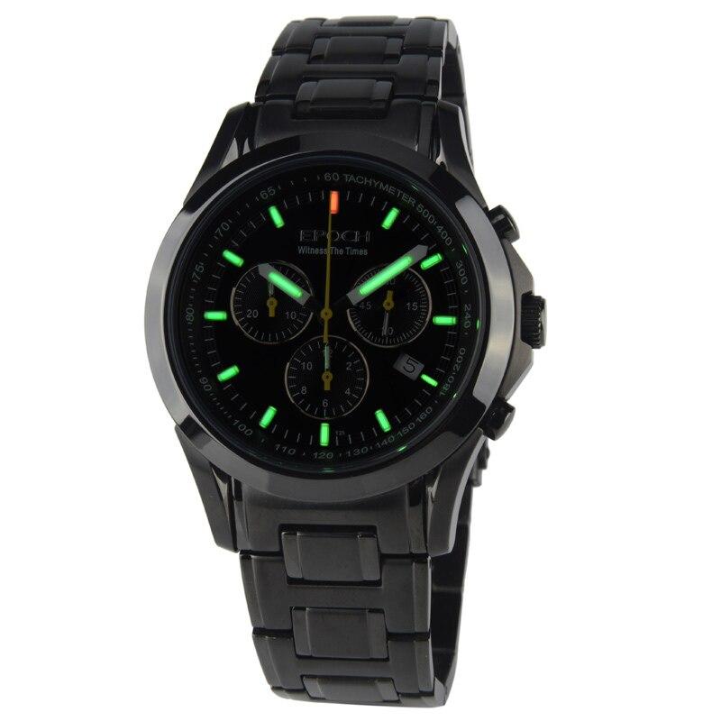 EPOCH 6022G waterproof 100m tritium gas luminous triple window sport chronograph mens quartz watch