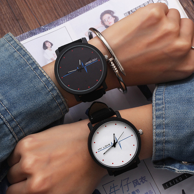 Trend couple watches women top brand black white fashion heart lovers watch quar